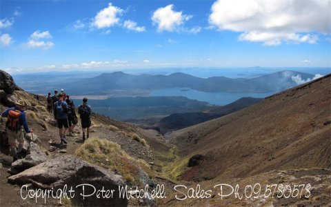 Looking North from Mt Tongariro to Lake Rotoaira
