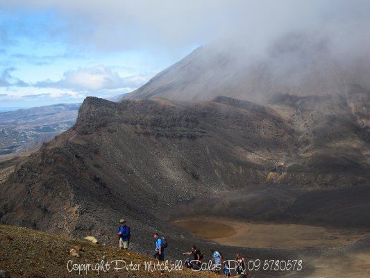 Ascending Tongariro from the base of Ngrauruhoe